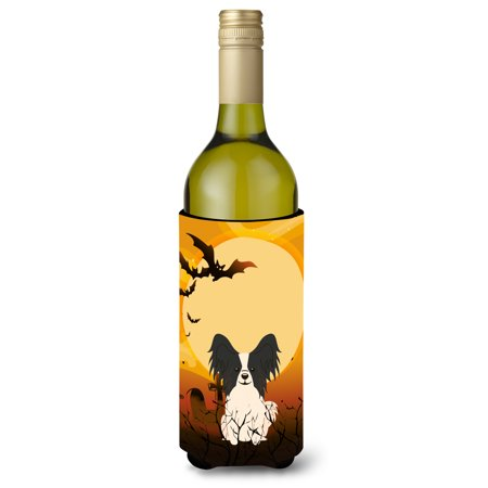 Halloween Papillon Black White Wine Bottle Beverge Insulator Hugger BB4342LITERK