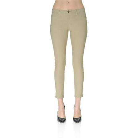 Hyperstretch Skinny Ankle Pants with Button Back Pocket, Khaki - Extra Large - Khaki Ankle Pants