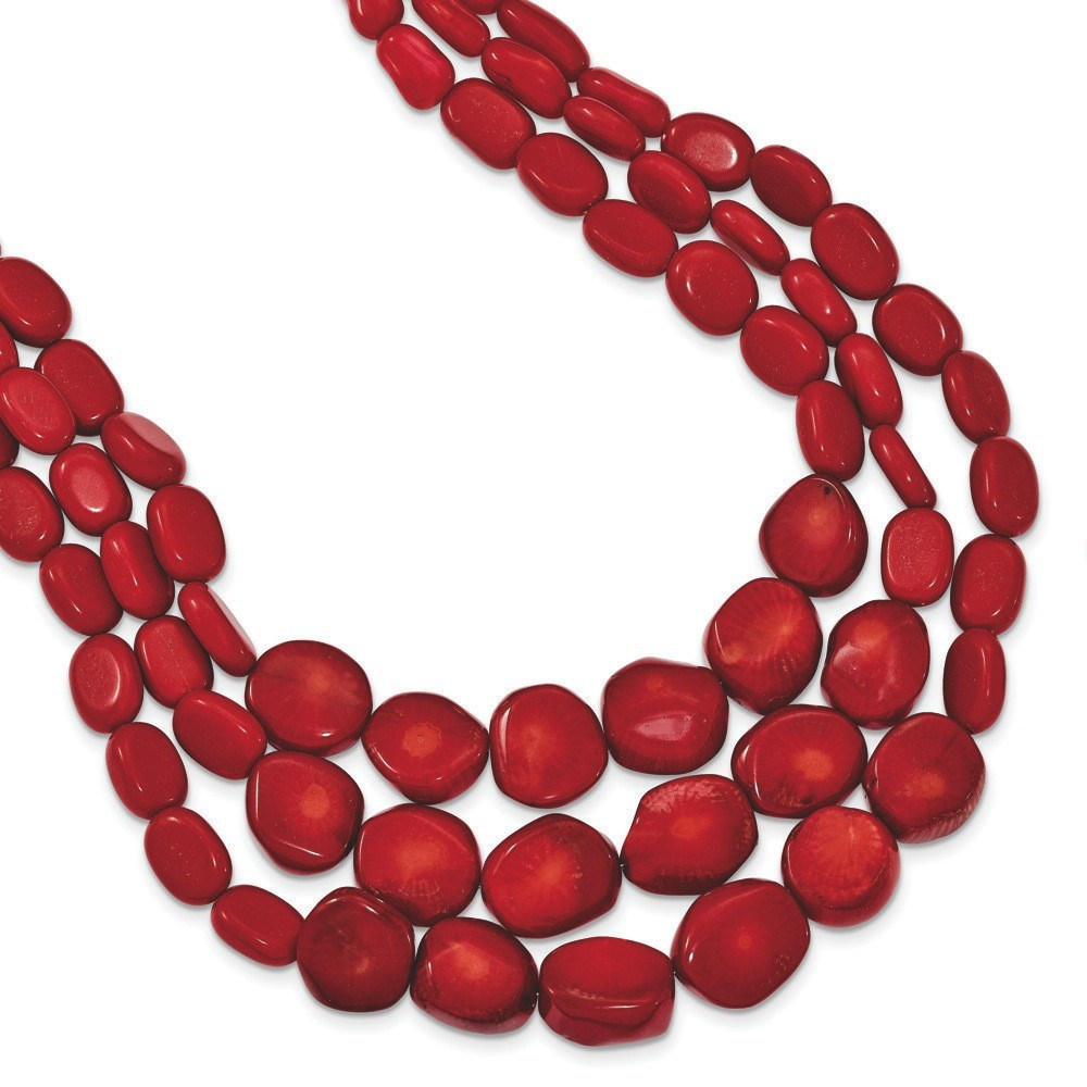 Sterling Silver Red Coral With 2inch Ext Triple Strand Necklace 16 Inch by