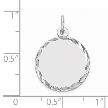 925 Sterling Silver Rhod Plated Eng. Rnd Polish Front Back Disc Pendant Charm Necklace Engravable Round Fine Jewelry Gifts For Women For Her - image 2 of 6