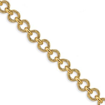 Solid 14k Yellow Gold Polished & Textured Fancy Link Bracelet 7.5
