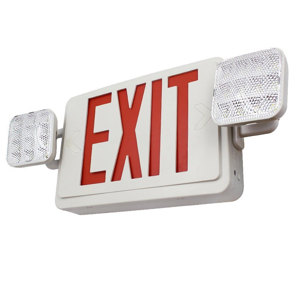 TORCHSTAR  LED Red Exit Sign Lighting Emergency Light ,LED Dual/Single Face Combo EXIT Sign and Emergency Light, Red Letter, Dual Square Head, Rechargeable Battery Backup