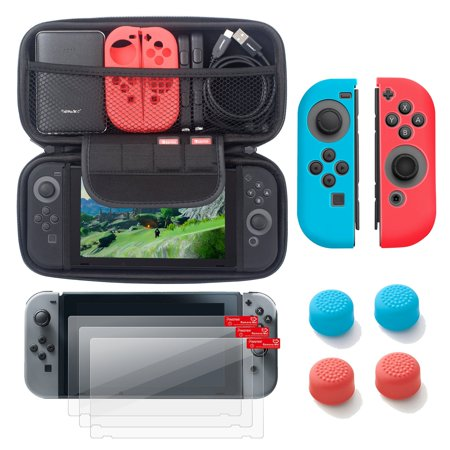 Nintendo Switch 6 items Starter Kit, by Insten Carrying Case EVA Hard Shell Cover + 3-pack LCD Guard + Joy-Con Controller Skin [Left BLUE/Right RED] + Joy-Con Thumb Grip Stick Caps for Nintendo Switch