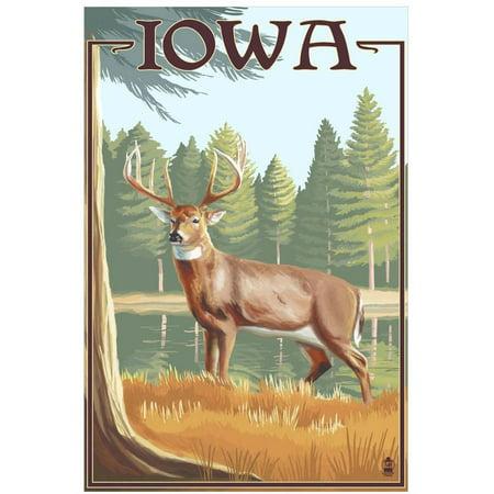 White Tailed Deer - Iowa: Retro Travel Poster by Eazl Fine Art Print (Iowa Art)