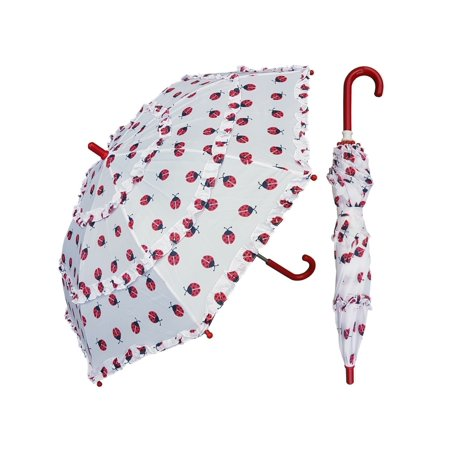 w105chladyb 32 in. childrens ladybug print umbrella with ruffles, 6 piece - Childrens Boutiques