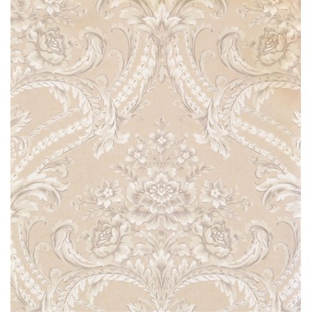 DAMASK - Traditional Biege Wallpaper Roll - image 1 of 1