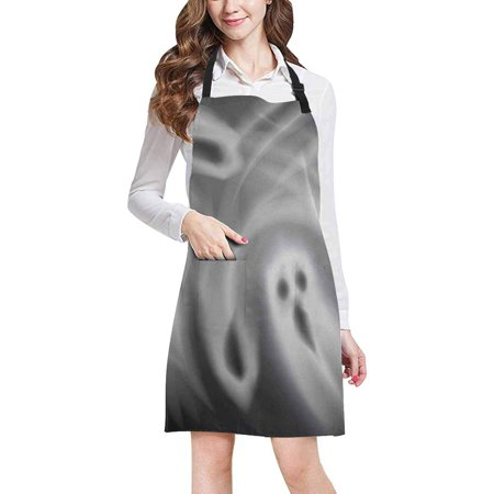 ASHLEIGH Ghosts with Spooky Faces Horror Halloween Theme Adjustable Bib Apron with Pockets Commercial Restaurant and Home Kitchen Apron for Women Men (Halloween Restaurant Specials Long Island)
