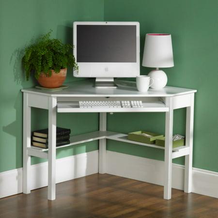 Southern enterprises white corner computer desk for Meuble audio ikea