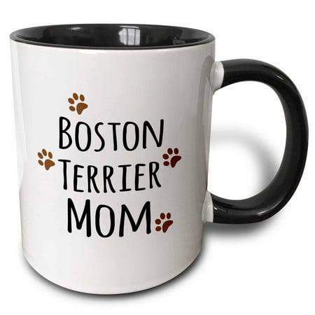 3dRose Boston Terrier Dog Mom - Doggie by breed - brown muddy paw prints love - doggy lover mama pet owner, Two Tone Black Mug, 11oz (Boston Terrier Halloween Pumpkin)