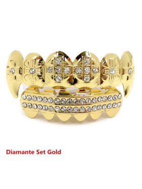 Cool Gold Grillz 24k Plated Teeth Mouth Grills Bling Hip Hop Gangsta Gangster