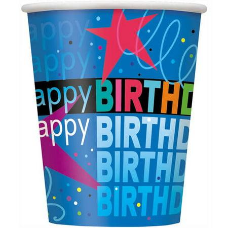 9oz Paper Cosmic Birthday Cups, 8ct