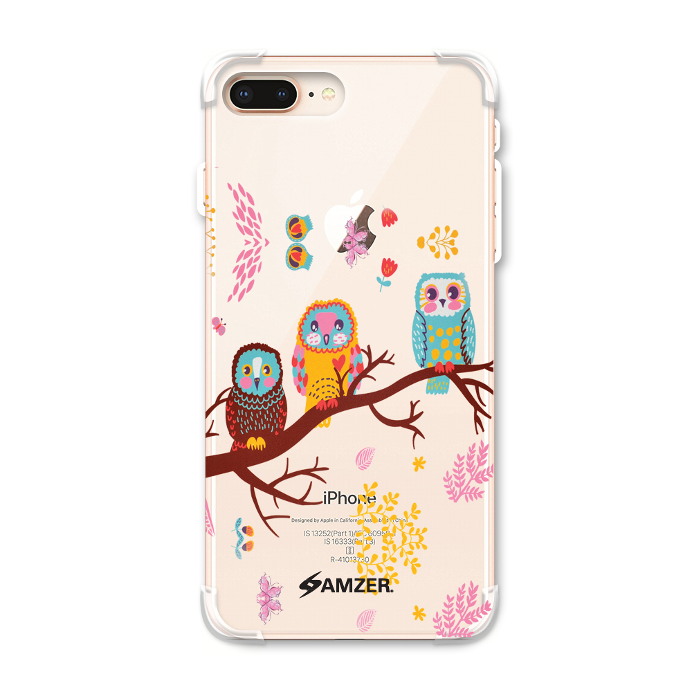 iPhone 8 Plus Case - Owls On Branch, Premium Handcrafted Printed Designer Snap On Case Shock Absorption Reinforced Corners TPU Bumper Cushion Case Cover for iPhone 8 Plus