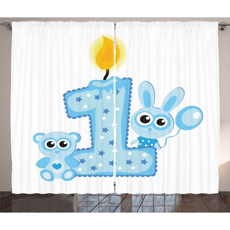 1st Birthday Curtains 2 Panels Set, Boys Party Theme with a Cake and Candle Rabbit and Bear Animals, Window Drapes for Living Room Bedroom, 108W X 63L Inches, Baby Blue and Pale Blue, by Ambesonne for $<!---->