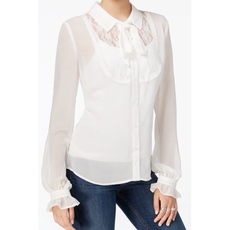 Fair Child NEW White Ivory Womens Size XS Sheer Lace Button Down
