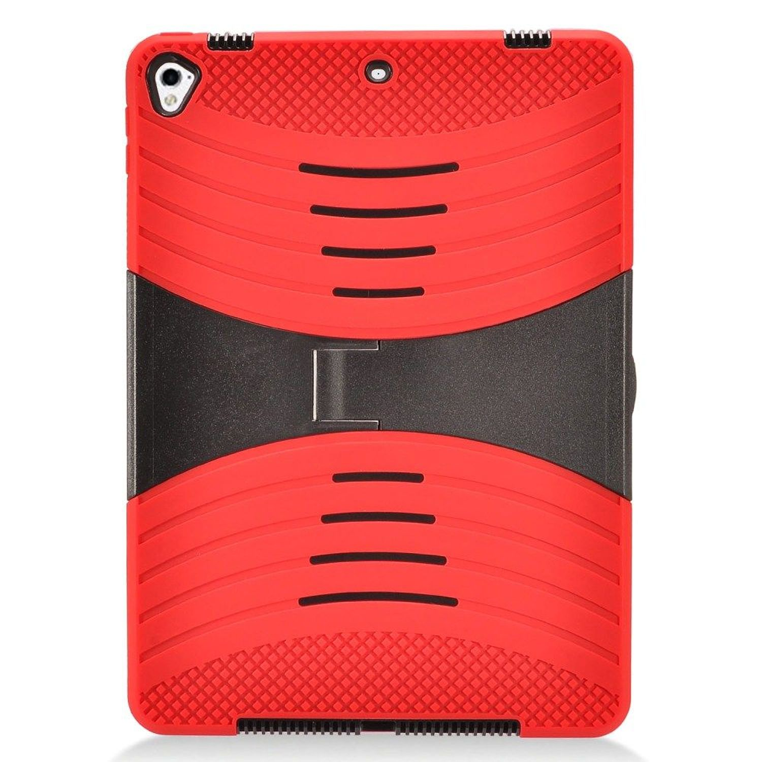 """iPad Case 9.7"""" 2017, by Insten Dual Layer [Shock Absorbing] Hybrid Stand Rubberized Silicone/Plastic Case Cover For iPad 9.7"""" (2017), Red/Black"""