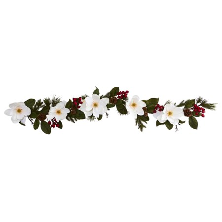 Nearly Natural 6 ft. Magnolia, Pine and Berries Artificial Garland Berry Garland 6 Foot