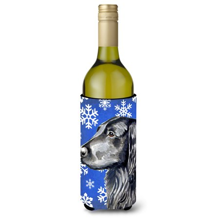 Flat Coated Retriever Winter Snowflakes Holiday Ultra Beverage Insulators for slim cans (White Flat Coated Retriever)