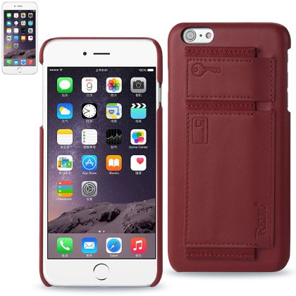 Iphone 6/ 6S Plus 5.5 Inches Genuine Leather Slim-Fit Case With Key Holder & Rfid Shielded Card Slots In Burgundy