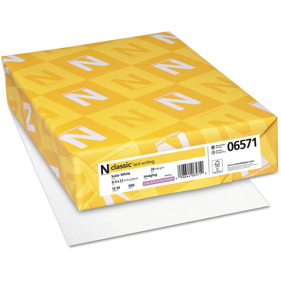 "Neenah Paper Classic Laid Stationery Writing Paper, 8.5"" x 11"", Solar White, 500 Sheets"