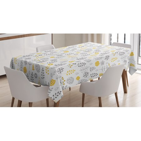 - Modern Tablecloth, Nature Wild Forest Leaves Flowers Trees Buds Sketchy Contemporary Art Print , Rectangular Table Cover for Dining Room Kitchen, 60 X 84 Inches, Grey Mustard White, by Ambesonne