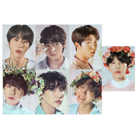 Kpop BTS 7 Pcs/Set  Flower Series Magazine Polaroid Lomo Cards Suga Jungkook V HD Photocard Poster](Bts V Halloween)
