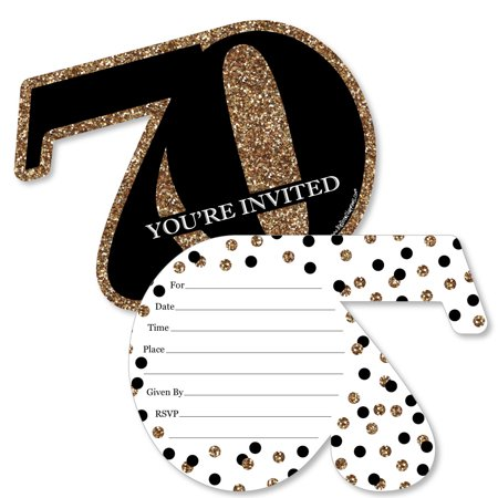 Adult 70th Birthday - Gold - Shaped Fill-In Invitations - Birthday Party Invitation Cards with Envelopes - Set of 12](Halloween Birthday Invitation Verses)