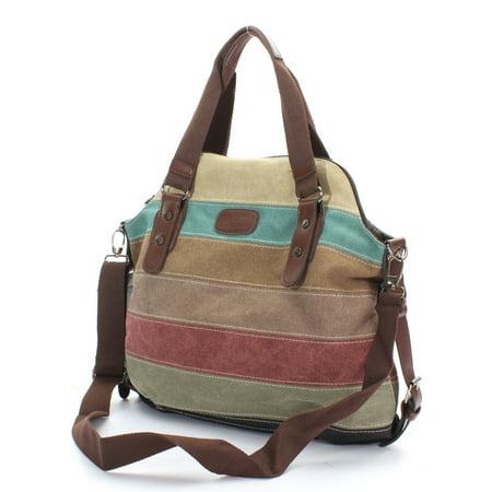 Fashion Stripe Leisure Multicolor Canvas Shoulder Bag Tote Handbags for Women Cross Body
