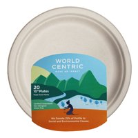 """World Centric Compostable Wheat Straw Plates, 10"""", 20 Count"""