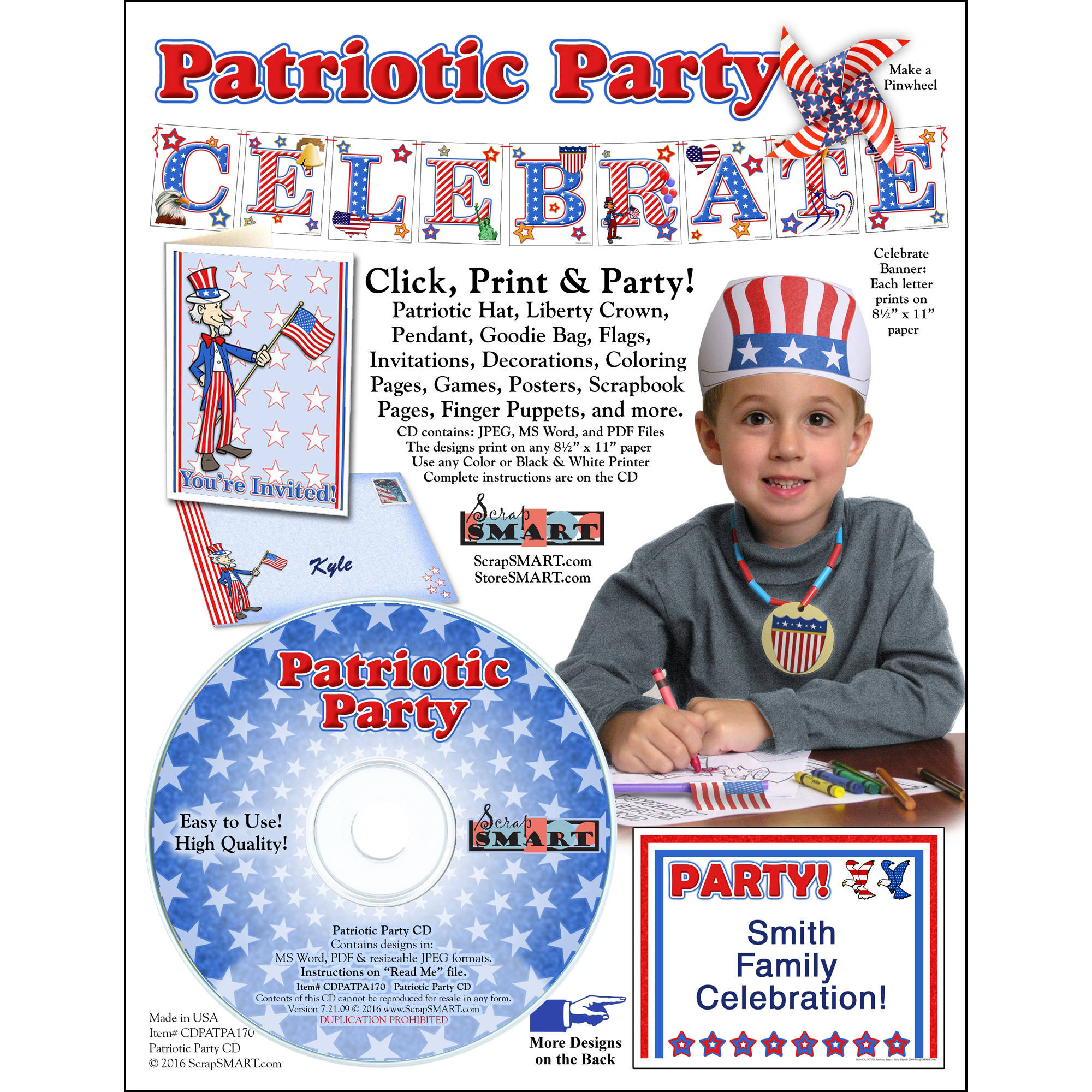ScrapSMART Patriotic Party CD-ROM: Decorations, Crafts, Scrapbook and Coloring Pages