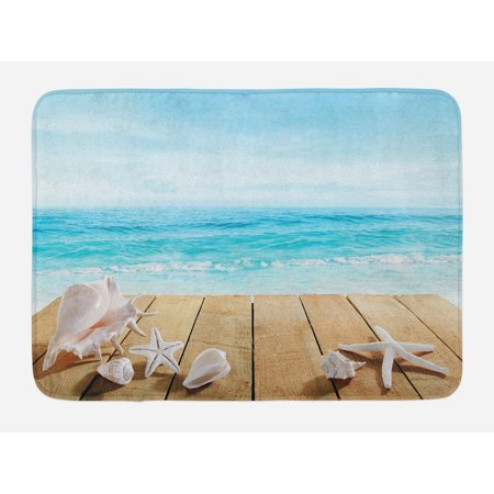 Seashells Bath Mat, Wooden Boardwald with Seashells Sunshine Vacations Beach Theme, Non-Slip Plush Mat Bathroom Kitchen Laundry Room Decor, 29.5 X 17.5 Inches, Sand BrownPale Brown Beige, - Kitchen Theme Decor
