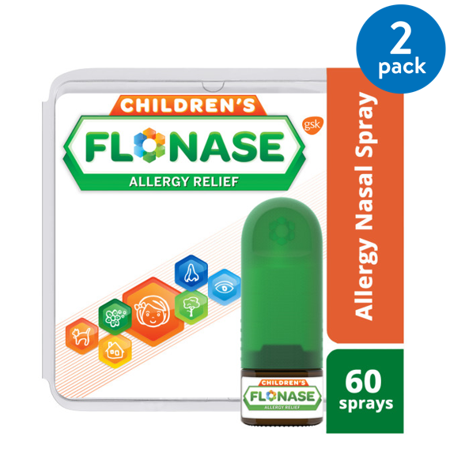 (2 pack) Flonase Children's Allergy Nasal Spray, Relief Full Prescription Strength, 60 sprays