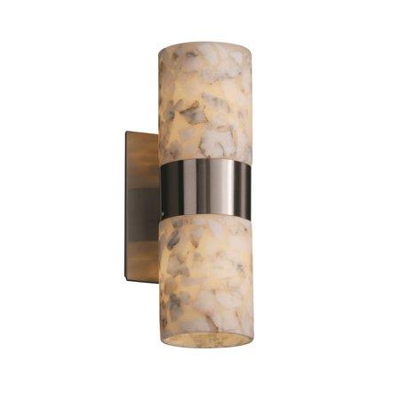 Justice Alabaster Rocks Dakota 2-Up/Down Light Wall Sconce - Brushed Nickel - ALR-8762-10-NCKL Alabaster Rocks 12 Light