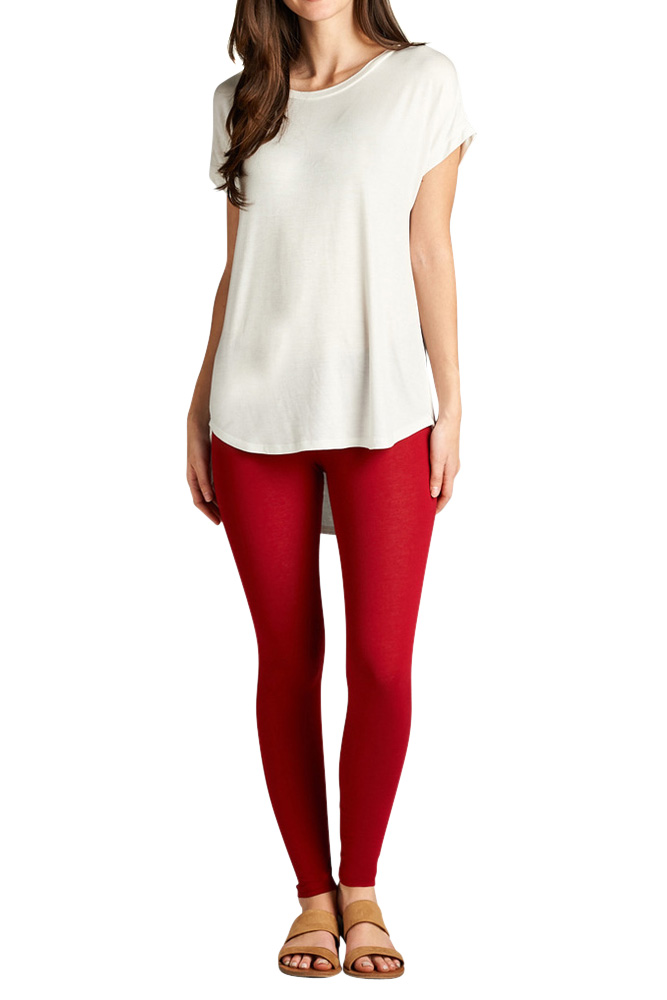 Juniors Basic Full Length Cotton Spandex Leggings