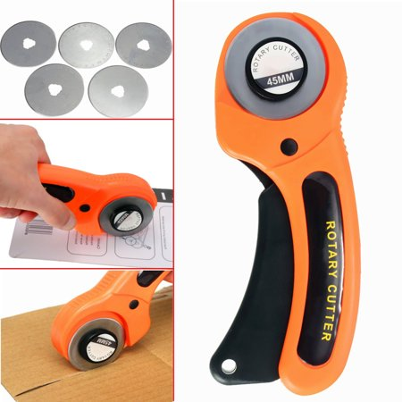 45mm Rotary Cutter + 5PCS Cutting Blade For Fabric Craft Sewing Quilting