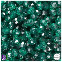 BeadTin Forest Green Transparent 8mm Faceted Round Craft Beads (450pcs)