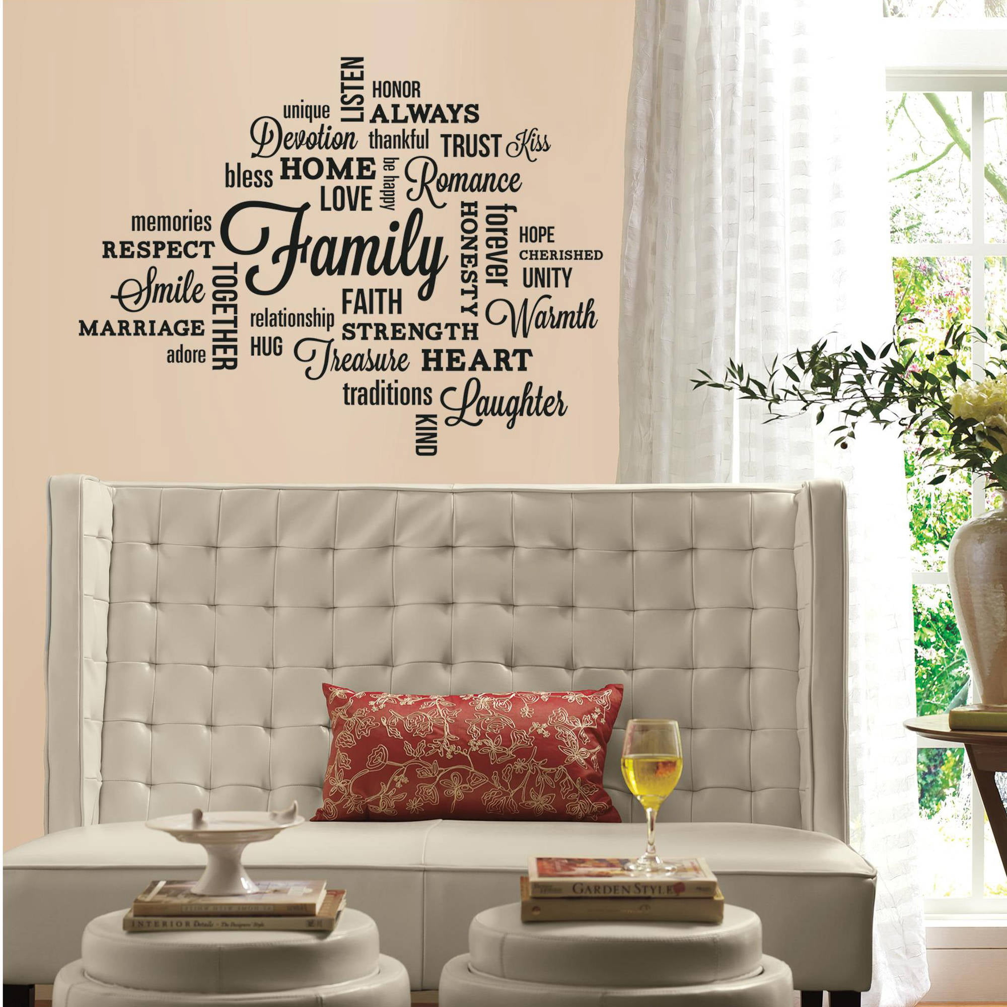 Wall Decor Decals family quote peel and stick wall decals - walmart