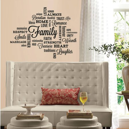 Family quote peel and stick wall decals for Peel and stick wallpaper walmart