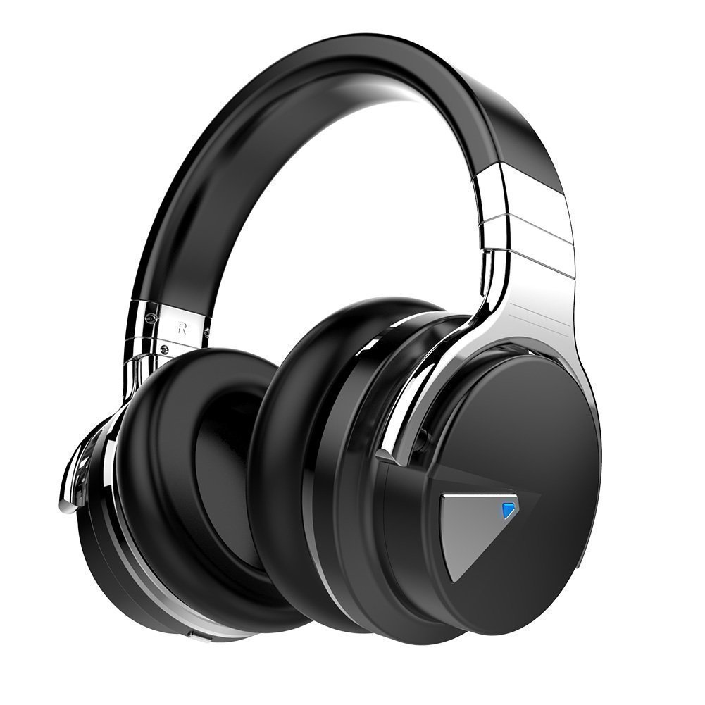 COWIN E7 Active Noise Cancelling Bluetooth Over-Ear Headphones with Microphone - Black