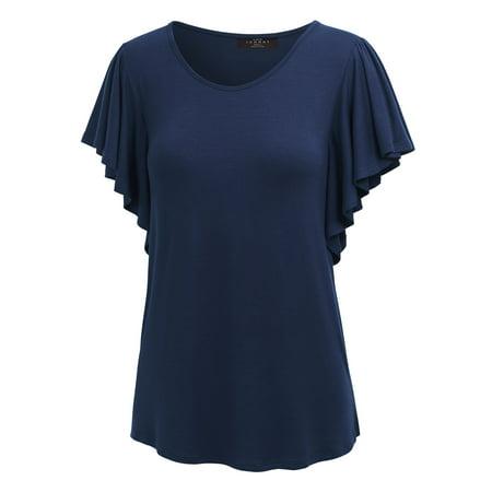 Wine Halloween Shirt (MBJ Womens Round Neck Short Ruffle Sleeve T Shirt ( S - XXXL)