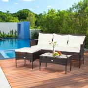 Gymax 3PCS Patio Rattan Sectional Conversation Furniture Set w/ Off White Cushions