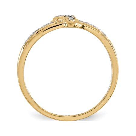 14k or jaune double anneau de coeur mode - image 1 de 3