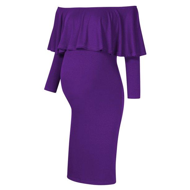 Women S Long Sleeeve Ruffle Off Shoulder Maternity Dress Walmart Com Walmart Com