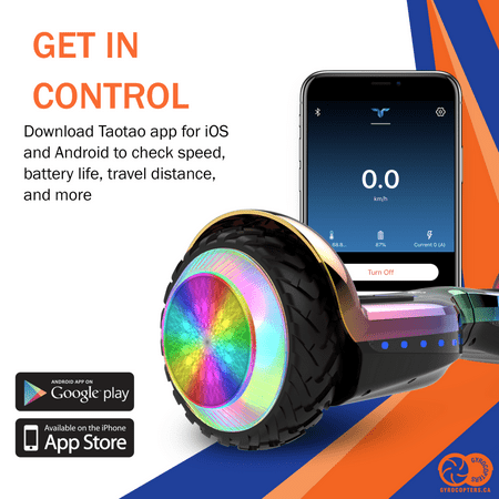 Gyrocopters PRO 6.0 Off-Road Hoverboard - UL 2272 Certified with Bluetooth, LED wheels, APP, No Fall Technology, Front and Back lights (Chrome Rainbow) - image 2 of 10