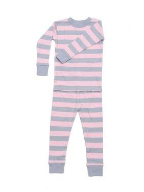 New Jammies Unisex Baby Pink Grey Classic Stripe 2 Pc Sleepwear Set 12-24M