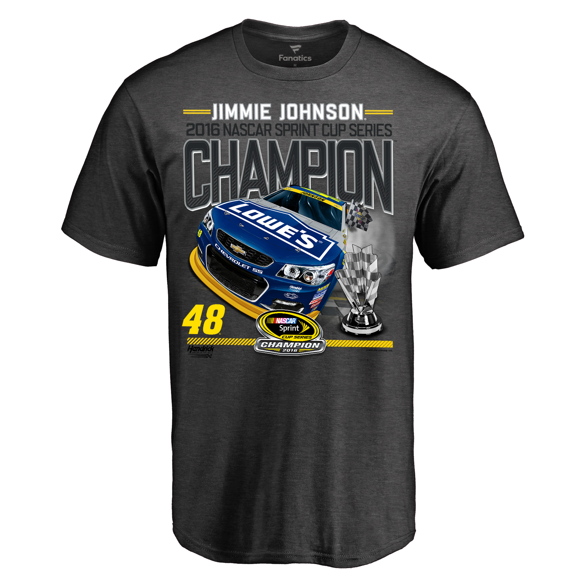 Jimmie Johnson 2016 Sprint Cup Champion Official T-Shirt - Heathered Gray