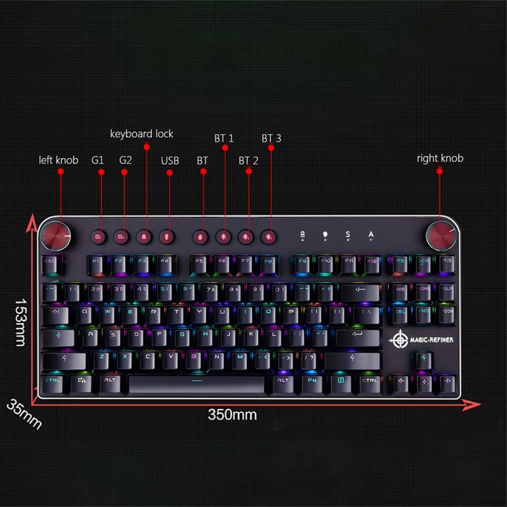 MAGIC-REFINER Mechanical Gaming Keyboard Wired USB /& Wireless BT 3.0 for Gaming