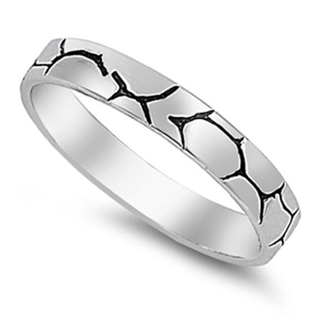 Wedding Cracked Etched Tattoo Vein Ring ( Sizes 5 6 7 8 9 10 ) New .925 Sterling Silver Band Rings by Sac Silver (Size