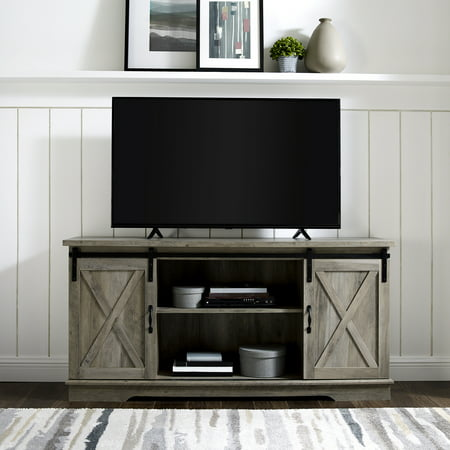 Manor Park 58 Modern Farmhouse Sliding Barn Door Tv Stand Solid