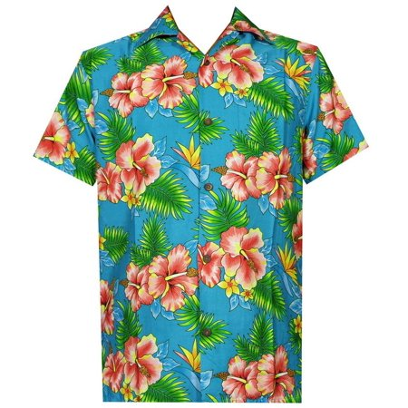 hawaiian shirt 47 mens allover flower beach aloha casual holiday blue m