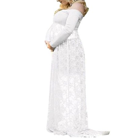 Maternity Off Shoulder Lace Sexy Pregnants Maxi Photography Props Nursing Long Dress